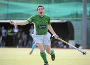 9 May 2010; Richard Shaw, Glenanne, celebrates after scoring his side's third goal. Irish Senior Men's Cup Final, Monkstown v Glenanne, National Hockey Stadium, UCD, Belfield, Dublin. Picture credit: Brian Lawless / SPORTSFILE
