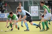 9 May 2010; Stephen Cole, Monkstown, in action against Gary Shaw and Mick McGuinness, right, Glenanne. Irish Senior Men's Cup Final, Monkstown v Glenanne, National Hockey Stadium, UCD, Belfield, Dublin. Picture credit: Brian Lawless / SPORTSFILE