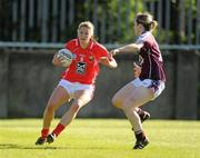 8 May 2010; Juliet Murphy, Cork, in action against Catriona Cormican, Galway. Bord Gais Energy Ladies National Football League Division 1 Final, Cork v Galway, Parnell Park, Dublin. Picture credit: Stephen McCarthy / SPORTSFILE