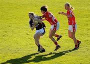 8 May 2010; Catriona Cormican, Galway, in action against Caoimhe Creedon and Nollaig Cleary, right, Cork. Bord Gais Energy Ladies National Football League Division 1 Final, Cork v Galway, Parnell Park, Dublin. Picture credit: Stephen McCarthy / SPORTSFILE