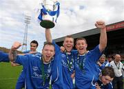 9 May 2010; Gerard Bambrick, left, Tony Griffiths and Damien Cuffe, right, Crumlin United FC, celebrate with the cup at the end of the game. FAI Umbro Intermediate Cup Final, Crumlin United FC v Avondale United FC, Dalymount Park, Dublin. Picture credit: Paul Mohan / SPORTSFILE