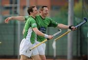 9 May 2010; Mick McGuinness, left, and Paul Fitzpatrick, right, Glenanne, celebrate at the final whistle. Irish Senior Men's Cup Final, Monkstown v Glenanne, National Hockey Stadium, UCD, Belfield, Dublin. Picture credit: Brian Lawless / SPORTSFILE