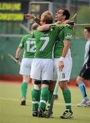 9 May 2010; Stephen Butler, right, and Graham Shaw, Glenanne, celebrate after the match. Irish Senior Men's Cup Final, Monkstown v Glenanne, National Hockey Stadium, UCD, Belfield, Dublin. Picture credit: Brian Lawless / SPORTSFILE