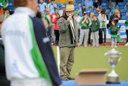 9 May 2010; A Glenanne supporter records the cup presentation. Irish Senior Men's Cup Final, Monkstown v Glenanne, National Hockey Stadium, UCD, Belfield, Dublin. Picture credit: Brian Lawless / SPORTSFILE