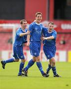 9 May 2010; James Lee, Crumlin United FC, celebrates after scoring his side's second goal with team-mates Carl Redmond, left and Paul McCabe, right. FAI Umbro Intermediate Cup Final, Crumlin United FC v Avondale United FC, Dalymount Park, Dublin. Picture credit: Paul Mohan / SPORTSFILE