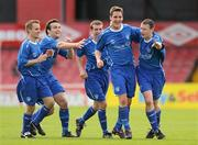 9 May 2010; James Lee, second from right, Crumlin United FC, celebrates with team-mates after scoring his side's second goal. FAI Umbro Intermediate Cup Final, Crumlin United FC v Avondale United FC, Dalymount Park, Dublin. Picture credit: Paul Mohan / SPORTSFILE