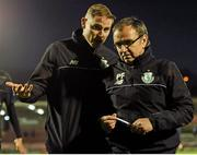 25 April 2016; Shamrock Rovers manager Pat Fenlon, right, makes his way off the pitch after the game.  SSE Airtricity League, Premier Division, Cork City v Shamrock Rovers. Turners Cross, Cork. Picture Credit: Eóin Noonan/SPORTSFILE