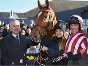 26 April 2016; Jockey Davy Russell with owner Chris Jones after winning the Growise Champion Novice Steeplechase with Zabana. Punchestown, Co. Kildare. Picture credit: Paul Mohan / SPORTSFILE