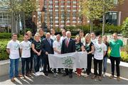 27 April 2016; Patrick Hickey, President, Olympic Council of Ireland, and Kevin Kilty, Chef de Mission, Team Ireland with members of Team Ireland, from left, David Oliver Joyce, boxing, Oliver Dingley, Diving, Aoife Clark, Equestrian, Ellis O'Reilly, Gymnastics, Annalise Murphy, Sailing, Arthur Lanigan O'Keeffe, Modern Pentathlon, Paddy Barnes, Boxing, Joseph Murphy, Equestrian, Judy Reynolds, Equestrian, Cathal Daniels, Equestrian, Clare Abbott, Equestrian, Michael Conlan, Boxing, Kieran Behan, Gymnastics, Fionnuala McCormack, Athletics and Mitch Darling, Hockey, for the forthcoming Rio Olympic Games during a press conference to celebrate 100 Days out from the Rio Olympic Games. Conrad Hotel, Dublin. Picture credit: Brendan Moran / SPORTSFILE