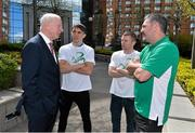 27 April 2016; Patrick Hickey, left, President, Olympic Council of Ireland, with boxers Michael Conlan and Paddy Barnes and boxing coach John Conlan, after a press conference to celebrate 100 Days out from the Rio Olympic Games. Conrad Hotel, Dublin. Picture credit: Brendan Moran / SPORTSFILE