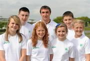 19 May 2010; A group of 10 young Irish athletes today flew out from Dublin to take part in the European Youth Olympic Trials which take place in Moscow from 21-23 May. This is a qualifying event for the Summer Youth Olympic Games to be held in Singapore from 14-26 August. Ahead of the teams departure is, back row, from left, Mark English, Letterkenny A.C., Donegal, 1000m, Marco Pons, DMP, Wexford, Discus, James Treanor, Shercock A.C., Cavan, 10K Walk, with, front row, from left, Sally Rose Maughan, Castlebar A.C., Mayo, Long Jump, Kate Veale, West Waterford A.C., Waterford, 10K Walk, Emma Prendiville, Farranfore Maine Valley A.C., Kerry, 5K Walk, and Sarah Lavin, Emerald A.C., Limerick, 100m. Youth Olympic Team Heads for Moscow, The Athletics Association of Ireland Headquarters, Northwood Business Park, Santry, Dublin. Picture credit; Stephen McCarthy / SPORTSFILE