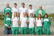 19 May 2010; A group of 10 young Irish athletes today flew out from Dublin to take part in the European Youth Olympic Trials which take place in Moscow from 21-23 May. This is a qualifying event for the Summer Youth Olympic Games to be held in Singapore from 14-26 August. Ahead of the team's departure is, back row, from left, Michael Lane, coach, Mark English, Letterkenny A.C., Donegal, 1000m, Marco Pons, DMP, Wexford, Discus, James Treanor, Shercock A.C., Cavan, 10K Walk, and Michael O'Brien, coach, with, front row, from left, Jacqui Freyne, coach, Sally Rose Maughan, Castlebar A.C., Mayo, Long Jump, Sarah Lavin, Emerald A.C., Limerick, 100m, Emma Prendiville, Farranfore Maine Valley A.C., Kerry, 5K Walk, Kate Veale, West Waterford A.C., Waterford, 10K Walk, and Team manager Bernie Alcorn. Youth Olympic Team Heads for Moscow. The Athletics Association of Ireland Headquarters, Northwood Business Park, Santry, Dublin. Picture credit; Stephen McCarthy / SPORTSFILE