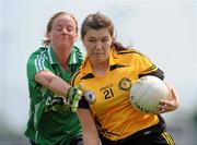 22 May 2010; Ciara Hegarty, Ulster, in action against Mary Nevin, Leinster. Ladies Football Interprovincial Championships, Leinster v Ulster, Kinnegad GAA Club, Co. Westmeath. Picture credit: Ray Lohan / SPORTSFILE