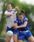 22 May 2010; Geraldine O'Flynn, Munster, in action against Patricia Gleeson, Connacht. Ladies Football Interprovincial Championships, Munster v Connacht, Kinnegad GAA Club, Co. Westmeath. Picture credit: Ray Lohan / SPORTSFILE