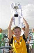 22 May 2010; Ulster captain Sinead McCleary lifts the Mick Talbot Cup. Ladies Football Interprovincial Championship Final, Ulster v Leinster, Kinnegad GAA Club, Co. Westmeath. Picture credit: Ray Lohan / SPORTSFILE