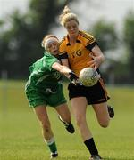 22 May 2010; Yvonne McMonagle, Ulster, in action against Sinéad Aherne, Leinster. Ladies Football Interprovincial Championship Final, Ulster v Leinster, Kinnegad GAA Club, Co. Westmeath. Picture credit: Ray Lohan / SPORTSFILE ***