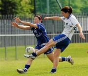 22 May 2010; Niamh Fahy, Connacht, in action against Linda Wall, Munster. Ladies Football Interprovincial Championships - Shield Final, Munster v Connacht, Kinnegad GAA Club, Co. Westmeath. Picture credit: Ray Lohan / SPORTSFILE