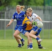 22 May 2010; Julie Ann-Russell, Connacht, in action against Elaine Harte and Linda Barrett, 2, Munster. Ladies Football Interprovincial Championships - Shield Final, Munster v Connacht, Kinnegad GAA Club, Co. Westmeath. Picture credit: Ray Lohan / SPORTSFILE