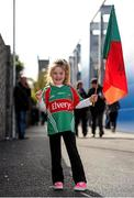 30 April 2016; Young Mayo supporters Niamh McNanara, age 5, Achill Island, Co. Mayo waves her county flag ahead of the match. EirGrid GAA Football Under 21 All-Ireland Championship Final, Cork v Mayo, Cusack Park, Ennis, Co. Clare. Picture credit: Seb Daly / SPORTSFILE