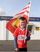 30 April 2016; Young Cork supporter Conor Cullinane, age 7, Dromahane, Co. Cork, waves his county flag ahead of the match. EirGrid GAA Football Under 21 All-Ireland Championship Final, Cork v Mayo, Cusack Park, Ennis, Co. Clare. Picture credit: Seb Daly / SPORTSFILE