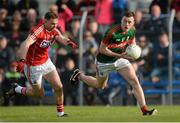30 April 2016; Diarmuid O'Connor, Mayo, in action against Kieran Histon, Cork. EirGrid GAA Football Under 21 All-Ireland Championship Final, Cork v Mayo. Cusack Park, Ennis, Co. Clare. Picture credit: Piaras Ó Mídheach / SPORTSFILE