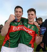 April 2016; Mayo's Brian Reape, left, and Fergal Boland celebrate after the game. EirGrid GAA Football Under 21 All-Ireland Championship Final, Cork v Mayo. Cusack Park, Ennis, Co. Clare. Picture credit: Piaras Ó Mídheach / SPORTSFILE