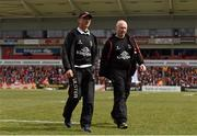 30 April 2016; Ulster director of rugby Les Kiss, left, and Ulster head coach Neil Doak. Guinness PRO12, Round 21, Ulster v Leinster. Kingspan Stadium, Ravenhill Park, Belfast, Co. Antrim. Picture credit: Stephen McCarthy / SPORTSFILE