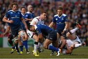 30 April 2016; Ben Te'o, Leinster, is tackled by Paddy Jackson, left, and Stuart Olding, Ulster. Guinness PRO12, Round 21, Ulster v Leinster. Kingspan Stadium, Ravenhill Park, Belfast, Co. Antrim. Picture credit: Stephen McCarthy / SPORTSFILE