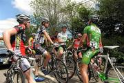 24 May 2010; Riders, including Philip Lavery, Murphy & Gunn/Newlyn, left, Mark McNally, white jersey, and Mark Cassidy, An Post Sean Kelly team, await the decision of UCI Commissaire President Jean-Pierre Coppenolle following an accident involving riders and a vehicle. The Commissaire eventually decided to neutralize the race with approximately 50Km to go. FBD Insurance Ras, Stage 2, Dundalk – Carrick-on-Shannon. Picture credit: Stephen McCarthy / SPORTSFILE