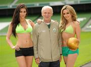 26 May 2010; Republic of Ireland manager Giovanni Trapattoni and top Irish models Georgia Salpa and Nadia Forde were on hand to launch Boylesports' Road to a Million campaign for the World Cup. Boylesports is giving soccer fans the chance to win €1 million by asking them to predict the road to the World Cup final this summer. For more information please log on to www.boylesports.com. Aviva Stadium, Lansdowne Road, Dublin. Picture credit: Oliver McVeigh / SPORTSFILE