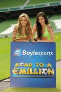 26 May 2010; Top Irish models Nadia Forde and Georgia Salpa were on hand to launch Boylesports' Road to a Million campaign for the World Cup. Boylesports is giving soccer fans the chance to win €1 million by asking them to predict the road to the World Cup final this summer. For more information please log on to www.boylesports.com. Aviva Stadium, Lansdowne Road, Dublin. Picture credit: Oliver McVeigh / SPORTSFILE