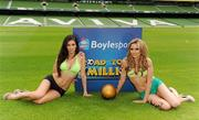 26 May 2010; Top Irish models Georgia Salpa and Nadia Forde were on hand to launch Boylesports' Road to a Million campaign for the World Cup. Boylesports is giving soccer fans the chance to win €1 million by asking them to predict the road to the World Cup final this summer. For more information please log on to www.boylesports.com. Aviva Stadium, Lansdowne Road, Dublin. Picture credit: Oliver McVeigh / SPORTSFILE