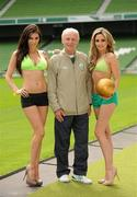 26 May 2010; Republic of Ireland manager Giovanni Trapattoni with top Irish models Georgia Salpa and Nadia Forde were on hand to launch Boylesports' Road to a Million campaign for the World Cup. Boylesports is giving soccer fans the chance to win €1 million by asking them to predict the road to the World Cup final this summer. For more information please log on to www.boylesports.com. Aviva Stadium, Lansdowne Road, Dublin. Picture credit: Oliver McVeigh / SPORTSFILE