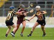 1 May 2016; Rebecca Hennelly, Galway, in action against Sarah-Ann Quinlan, left, and Ann Dalton, Kilkenny. Irish Daily Star National Camogie League Division 1 Final, Galway v Kilkenny. Semple Stadium, Thurles, Co. Tipperary. Picture credit: Piaras Ó Mídheach / SPORTSFILE