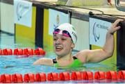 2 May 2016; Nicole Turner, age 13, Co. Laois, celebrates as she wins a European Silver medal in the 200m Individual Medley SM6 Final. IPC European Open Swim Championships. Funchal, Portugal. Picture credit: Carlos Rodrigues / SPORTSFILE