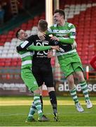 2 May 2016; Shamrock Rovers goalkeeper Craig Hyland celebrates with team-mate David Webster, left, and Sean Heaney after winning the game after penalties. EA Sports Cup Quarter-Final, Shelbourne v Shamrock Rovers. Tolka Park, Dublin.  Picture credit: Paul Mohan / SPORTSFILE
