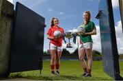 3 May 2016; Orlagh Farmer, Cork and Sarah Tierney, Mayo, at the Lidl Ladies Football National League Division 1 & 2 Media Day. Parnell Park, Dublin.  Picture credit: Paul Mohan / SPORTSFILE