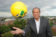 28 May 2010; Carlos Alberto Torres, captain of the 1970 Brazil World Cup winning team, was in Dublin to launch the Pele Goals for Life Cup competition on behalf of his great friend which will benefit the Little Prince Hospital in Curitiba, Brazil, and the New Children's Hospital of Ireland. The idea is to attract 100 teams from across Ireland to enter a National 5 a side competition and in the process raise funding to benefit both hospitals. The competition's winning team will travel on a trip of a lifetime to the cradle of football, Brazil, to be guests of the legendary Pele at a Santos game at the famous Vila Belmiro Stadium. The winners will also visit the Little Prince Hospital and also have the opportunity to play a 5 a side game in Santos and Rio de Janeiro. Pictured at the launch is Carlos Alberto Torres. D4 Berkeley Hotel, Ballsbridge, Dublin. Picture credit: Brian Lawless / SPORTSFILE