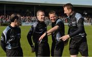 30 April 2016; Officials, from left, David Coldrick, Padraig Hughes, Rory Hickey and Séamus Mulhare share a joke before the game. EirGrid GAA Football Under 21 All-Ireland Championship Final, Cork v Mayo. Cusack Park, Ennis, Co. Clare. Picture credit: Piaras Ó Mídheach / SPORTSFILE