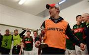 30 April 2016; Mayo manager Michael Solan celebrates with the cup in the dressing room after the game. EirGrid GAA Football Under 21 All-Ireland Championship Final, Cork v Mayo. Cusack Park, Ennis, Co. Clare. Picture credit: Piaras Ó Mídheach / SPORTSFILE