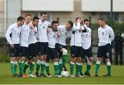 4 May 2016; Republic of Ireland players react after David Long missed his penalty during the penalty shootout. Defence Forces European Championships Qualifier, Republic of Ireland v France. Mervue Park, Galway. Picture credit: Diarmuid Greene / SPORTSFILE