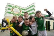 4 May 2016; Pike Rovers supporters during AVIVA's Junior Cup Community Day ahead of the FAI Junior Cup Final on the 14th May at Aviva Stadium. Aviva's FAI Junior Cup Ambassador, Kevin Kilbane, was joined by Irish band Na Fianna as he visited the communities of both Finalists, Pike Rovers in Limerick and Sheriff YC in north inner city Dublin today #RoadToAviva  Picture credit: Piaras Ó Mídheach / SPORTSFILE