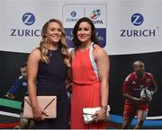 4 May 2016; Ashleigh Baxter and Louise Galvin from the Ireland Ladies 7's team, in attendance at the Zurich IRUPA Rugby Player Awards 2016. Hilton by Double Tree, Dublin. Picture credit: Matt Browne / SPORTSFILE