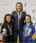 4 May 2016; Medallists in the Women's 100m Breaststroke SB6, from left, Ireland's Nicole Turner, Portarlington, Co. Laois, silver medal, Britain's Charlotte Henshaw, gold medal, and Ukraine's Nina Kolzlova, bronze medal. IPC European Open Swim Championships. Funchal, Portugal. Picture credit: Carlos Rodrigues / SPORTSFILE