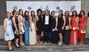 4 May 2016; Ireland head coach Joe Schmidt with, from left, IRUPA staff Kate Kirby and Lynsey Byrne with members of the Ireland Ladies team Audrey O'Flynn, Lucy Mulhall, Amee-Leigh Murphy Crowe, Sophie Spence, Claire Culhane, Paula Fitzpatrick, Ashleigh Baxter, Louise Galvin and Sene Naoupu, in attendance at the Zurich IRUPA Rugby Player Awards 2016. Hilton by Double Tree, Dublin. Picture credit: Matt Browne / SPORTSFILE