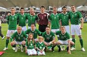 28 May 2010; The Republic of Ireland team, back row left to right, Kevin Doyle, Sean St.Ledger, Liam Lawrence, Kieren Westwood, Glenn Whelan, Stephen Kelly and John O'Shea, front row left to right, Paul Green, Greg Cunningham, Robbie Keane and Damien Duff. Friendly International, Republic of Ireland v Algeria, RDS, Ballsbridge, Dublin. Picture credit: David Maher / SPORTSFILE