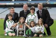 1 June 2010; At the announcement of the Irish Daily Mail and TG4 as Broadcasting and Team Partners of the International Rules Series are Anthony Tohill, Ireland International Rules Team Manager, with backroom staff Seán Óg de Paor, left, and Kevin O'Brien, right. Also pictured are children from Castleknock, Co. Dublin, from left, Ollie Jones, Jo Helly, Jed Jones, Zoe and Mia Helly. Croke Park, Dublin. Picture credit: Paul Mohan / SPORTSFILE