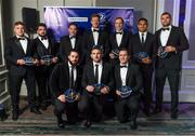 7 May 2016; Leinster Rugby president Robert McDermott with departing players, back row, from left, Ian Madigan, Marty Moore, Tom Denton, Darragh Fanning, Ben Te'o, and Tadhg Beirne; with front row, Mick McGrath, Aaron Dundon and Colm O'Shea at the Leinster Rugby Awards Ball. DoubleTree by Hilton, Dublin. Picture credit: Stephen McCarthy / SPORTSFILE