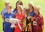 2 June 2010; At the launch of the Gala All-Ireland Camogie Championships 2010 are Senior captains, from left, Catriona Power, Dublin, Jill Horan, Tipperary, Una Leacy, Wexford, Joanne O'Callaghan, Cork, Anne Dalton, Kilkenny, Siobhan Lafferty, Clare, and Susan Earner, Galway. Camogie fans are set for a triple delight following the announcement at the launch that the Intermediate Camogie Final will be played with the Senior and Premier Junior Finals for the first time in GAA headquarters this year. Croke Park, Dublin. Picture credit: Ray McManus / SPORTSFILE