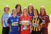 2 June 2010; At the launch of the Gala All-Ireland Camogie Championships 2010, are, from left, Senior captains, Catriona Power, Dublin, Jill Horan, Tipperary, Una Leacy, Wexford, Joanne O'Callaghan, Cork, Siobhan Lafferty, Clare, Anne Dalton, Kilkenny, and Susan Earner, Galway. Camogie fans are set for a triple delight following the announcement at the launch that the Intermediate Camogie Final will be played with the Senior and Premier Junior Finals for the first time in GAA headquarters this year. Croke Park, Dublin. Picture credit: Brendan Moran / SPORTSFILE
